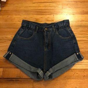 High-Waisted Denim Cuff Shorts